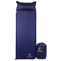 "REDCAMP Self-Inflating Sleeping Pad with Attached Pillow Blue With 1.2"" Thickness"