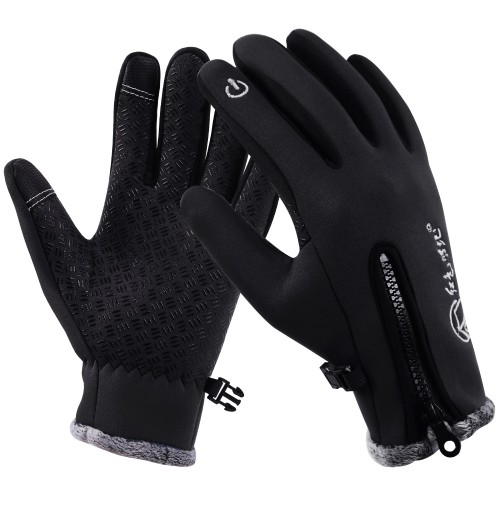 REDCAMP Winter Gloves Windproof, Thick Fleece Lining Touch Screen Gloves Men Women Cycling Running Outdoor Activities, Black Blue