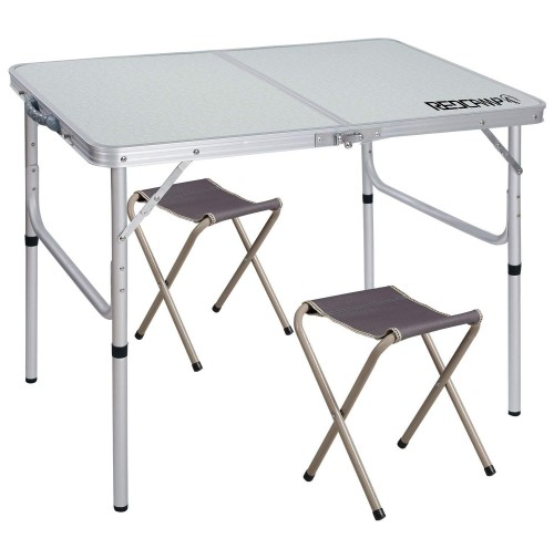 """REDCAMP Folding Camping Table Adjustable, Portable Picnic Table with 2 Chairs, Aluminum White 35.4""""x23.6""""x15''/27.6"""""""