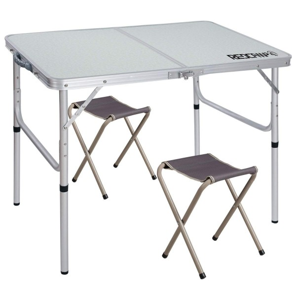 "REDCAMP Folding Camping Table Adjustable, Portable Picnic Table with 2 Chairs, Aluminum White 35.4""x23.6""x15''/27.6"""