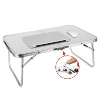 REDCAMP Foldable Mini Laptop Table, Portable Desk for Bed, Folds in Half-Silver