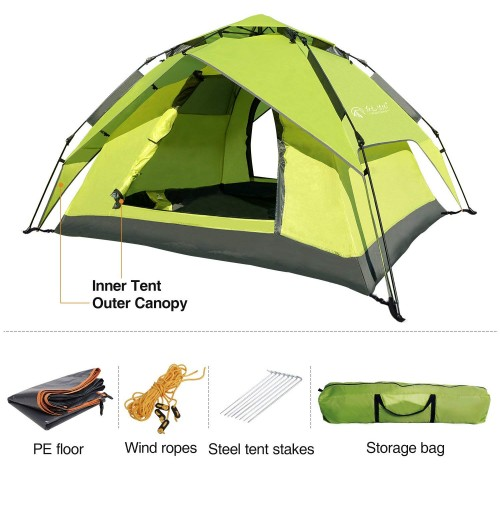 REDCAMP 2-3 Person Instant Tents for Camping, Automatic Waterproof Tent, 3 Season Two-function Camping Tent with Sun Shelter