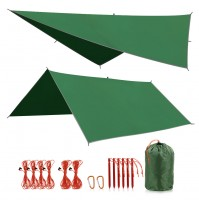REDCAMP Waterproof Camping Tarp, 4 in 1 Multifunctional Tent Footprint for Camping, Hiking and Survival Gear, Lightweight and Compact, Green 118''×118''