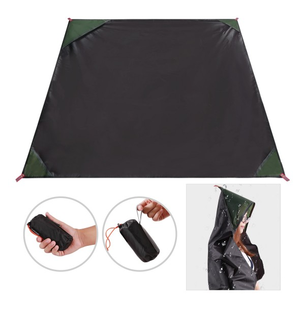 "REDCAMP Waterproof Pocket Blanket Portable Compact 78""x55"" PU2000mm, Large Lightweight Outdoor Travel Blanket for Beach Picnic"