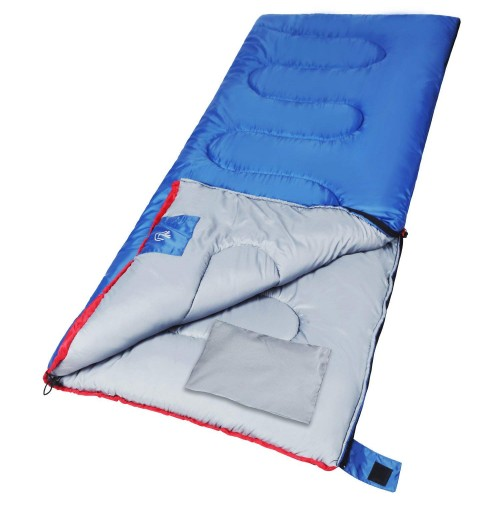 REDCAMP Outdoor Sleeping Bag for Camping,3-season Comfort 50°F/10°C,Blue 2lbs Filling with Compression Sack