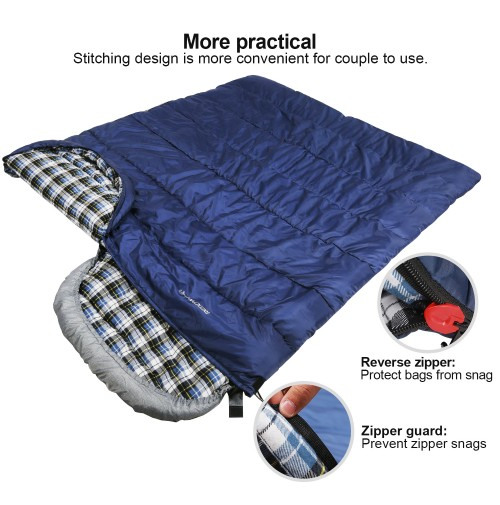 REDCAMP Cotton Flannel Sleeping Bags With Hood Blue 4LBS Filling