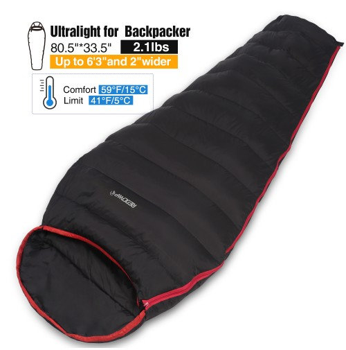 REDCAMP Down Sleeping Bag For Adult Lightweight 150g Filling Down