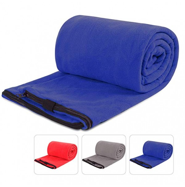 REDCAMP Fleece Sleeping Bag Liner for Adult Warm Weather, Full Sized Zipper Backpacking Blanket for Outdoor Camping or Indoor with Sack