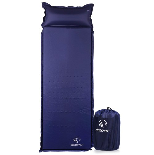 "REDCAMP Self-Inflating Sleeping Pad with Attached Pillow, Compact Lightweight Camping Air Mattress with Quick Flow Value, Blue 77""x26""x1.2-2"""
