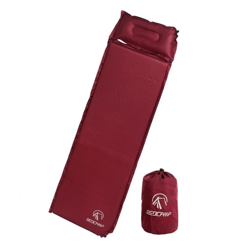 REDCAMP Self Inflating Sleeping Pad With Detachable Pillow - Red