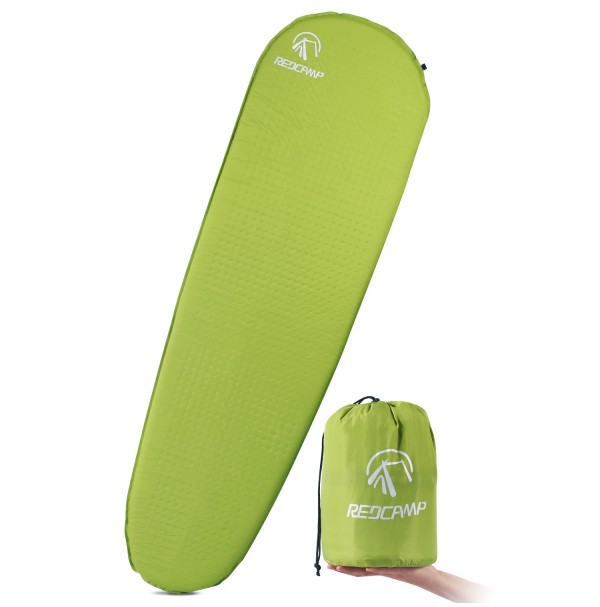 "REDCAMP Self Inflating Sleeping Pad for Backpacking - Green with 1.2"" Height"