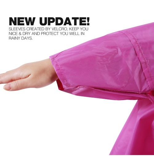 REDCAMP Waterproof Rain Poncho with Hood and Arms for Camping Hiking, 3 in 1 Multifunctional Lightweight Reusable Raincoat Poncho for Men Women Adults, Purple