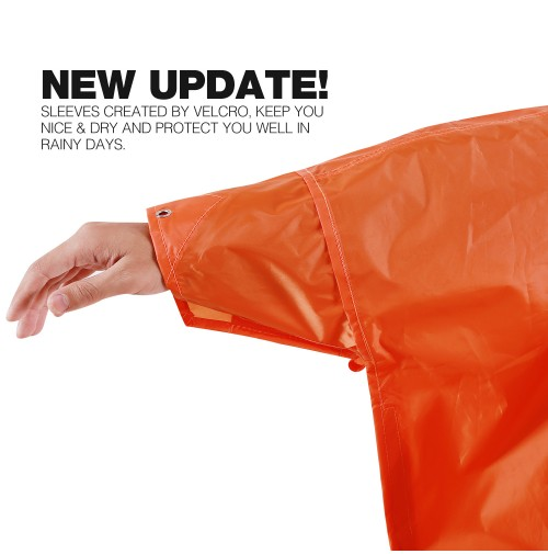 REDCAMP Waterproof Rain Poncho with Hood and Arms for Camping Hiking, 3 in 1 Multifunctional Lightweight Reusable Raincoat Poncho for Men Women Adults, Orange
