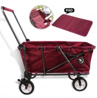 REDCAMP Collapsible Utility Cart for Camping, Folding Wagon With Pad  All Terrain Perfect for Outdoor Sport, Red