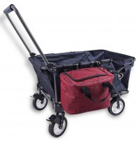REDCAMP Collapsible Wagon Cart Sport for Camping, 220lbs Capacity Outdoor Folding Utility Wagon(Navy Blue+Bag)
