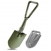 REDCAMP Military Folding Camping Shovel, High Carbon Steel Entrenching Tool Tri-fold Handle Shovel with Cover