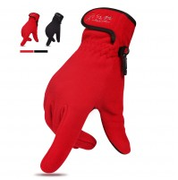 RECAMP Winter Gloves for Men Women, Warm Soft Fleece Gloves with Touchscreen for Outdoor Running Red