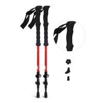 REDCAMP 2 in 1 Carbon Fiber Hiking Pole Collapsible, Ultralight Adjustable Trekking Cane and Walking Stick for Men Women, Red