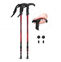 REDCAMP 2 in 1 Aluminium Hiking Poles Collapsible with Handle, 2 PCS Lightweight Adjustable Trekking Cane and Walking Stick for Men Women, Red