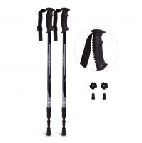 REDCAMP 2 in 1 Aluminium Hiking Poles Collapsible with Handle, 2 PCS Lightweight Adjustable Trekking Cane and Walking Stick for Men Women, Black