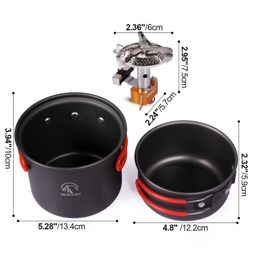 414e3b1e6ec ... REDCAMP Outdoor Camping Cookware 7 Pieces Set With Stove   Tripod Stand  ...