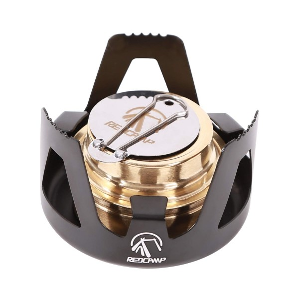 REDCAMP Mini Alcohol Stove for Backpacking, Lightweight Brass Spirit Burner with Aluminium Stand for Camping Hiking, Black