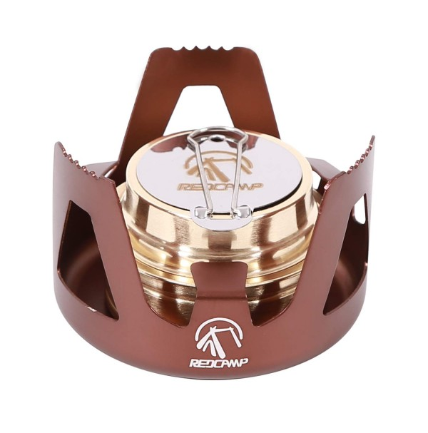 REDCAMP Mini Alcohol Stove for Backpacking, Lightweight Brass Spirit Burner with Aluminium Stand for Camping Hiking, Bronze