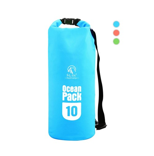 REDCAMP Floating Waterproof Dry Bag Roll Top with Strap, Heavy Duty Dry Sack Waterproof for Kayaking Boating Snorkeling Camping, Medium 10L Blue