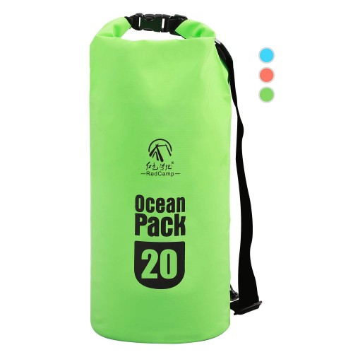 REDCAMP Floating Waterproof Dry Bag Roll Top with Strap, Heavy Duty Dry Sack Waterproof for Kayaking Boating Snorkeling Camping, Large 20L Green