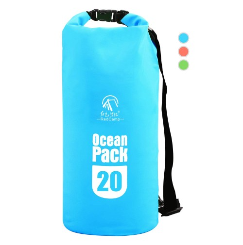 REDCAMP Floating Waterproof Dry Bag Roll Top with Strap, Heavy Duty Dry Sack Waterproof for Kayaking Boating Snorkeling Camping, Large 20L Blue