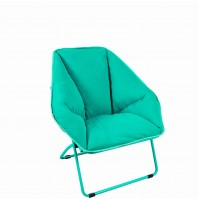 REDCAMP Folding Saucer Chair, Large Dish Chair for Teens Kids Adults, Turquoise 34x23.6x17 inches