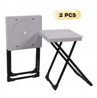 REDCAMP Folding Camp Stool Portable, Set of 2, Lightweight Camping Stools Plastic with Durable Steel Frame Legs, 15""