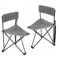 REDCAMP Folding Tripod Chair with Backrest for Camping Hunting, Grey, Set Of 2