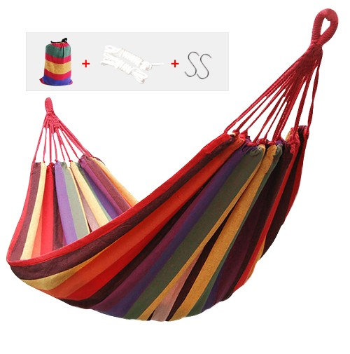 REDCAMP Camping Double Hammock, Portable Hammock with 2 Straps, Red Stripe